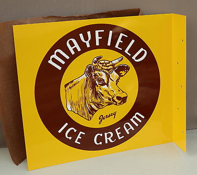 Vintage MAYFIELD ICE CREAM Flange Sign with Dairy Cow    NOS UNUSED MINT!!