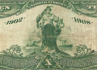 1902 $10 Dollar New York National Date Back Bank Note Large Currency Paper Money