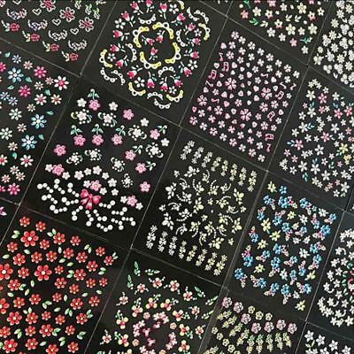 10 Sheets 3D Nail Art Transfer Stickers Flower Decals Manicure Decoration Tips