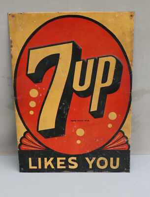 1940s Orange 7UP LIKES YOU Deco Soda Pop Metal sign