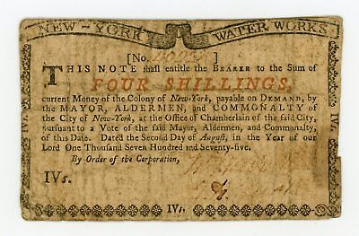 (NY-174) August 2nd, 1775 4 Shillings NEW YORK Water Works Colonial Currency