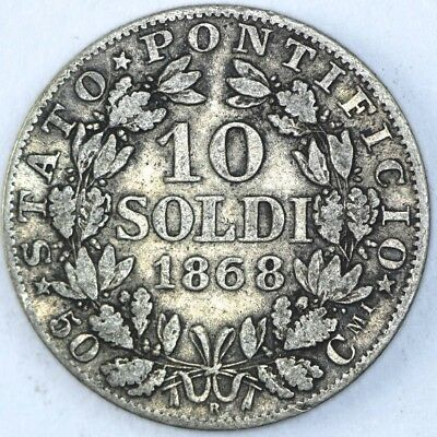 1868 Italy Papal States Silver 10 Soldi Pius IX Coin - NO RESERVE Lot 125 of 256