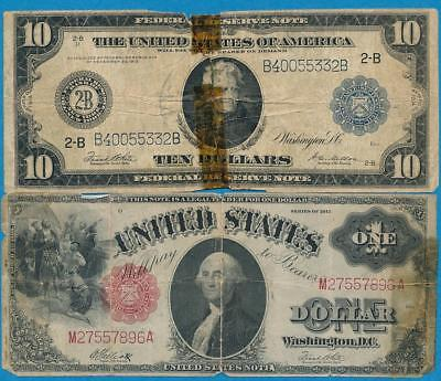 $1.00 1917 Legal Tender +  $10. 1914 Federal Reserve Note Imperfect Pair