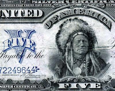 HGR SUNDAY 1899 $5 RARER Vernon/Treat ((Indian Chief)) SOLID MID GRADE