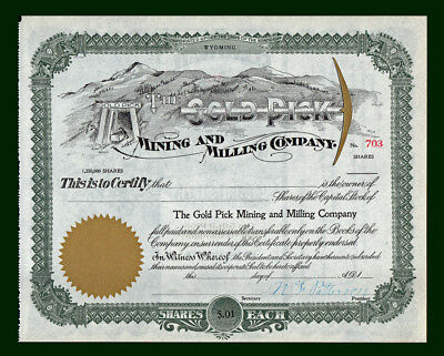 Early 1900s GUNNISON COLORADO Gold Pick Mining & Milling Co. Stock Certificate