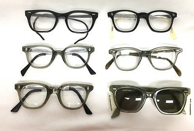 6 LOT vtg HORN RIM gray black SAFETY glasses FENDALL ROMCO AMERICAN optical