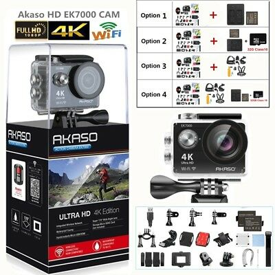 Akaso EK7000 Action Camera Ultra HD 4K WiFi 1080P/60fps 2.0'' LCD Waterproof New