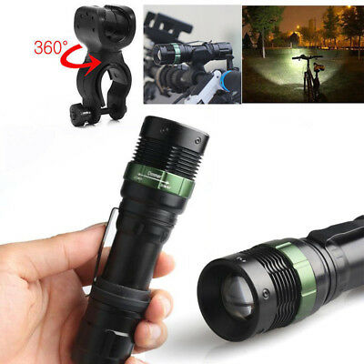 Super Bright CREE XML T6 LED Zoomable Flashlight Bike Bicycle 360°Mount Clip