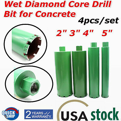 2'' 3'' 4'' 5'' 4Pcs Wet Diamond Core Drill Bit Combo for Concrete Premium Green