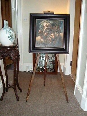 Antique Rustic Artist Floor Easel Great Patina Very Old Painting Large Size