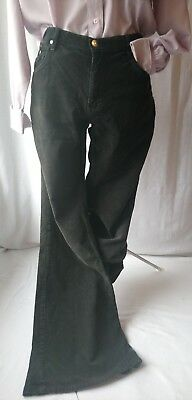 Awesome retro vintage 1970s black OLIVEO bootleg flared cord trousers 14 16
