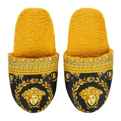 Versace Baroque Medusa Bath Slippers 1 Pair - Size S - Black Gold