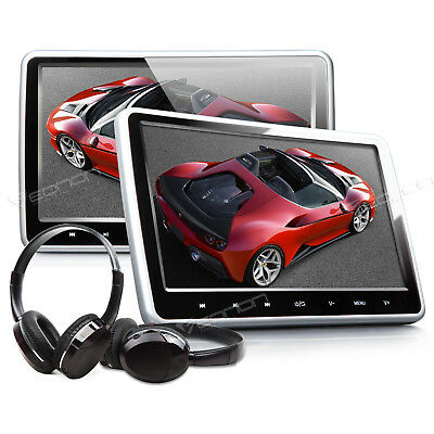 "Portable 10.1"" HD Pair Car Headrest DVD Player Pillow Monitor Wireless Headset l"