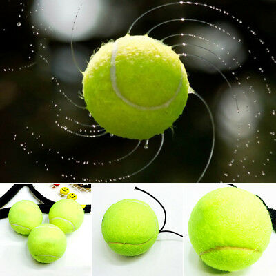 Green Resilience Tennis Balls Trainer Exercise Rubber Cord Elastic Band Rebound~