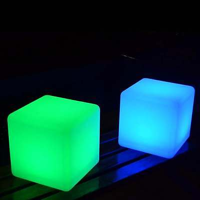 Set of 2 Mood Cube Lights, 20cm Colour Changing Lamps with Remote by PK Green