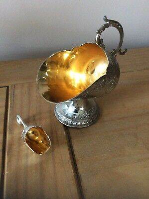 Silver Plated Coal Scuttle Shaped Sugar Bowl Complete With Scoop