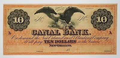 1800's $10 The Canal Bank - New Orleans, LOUISIANA Note COLORFUL! CU