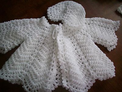 New Hand Crochet Baby Matinee Jacket & Beanie Hat Set White Wool Size 0-6 Mths