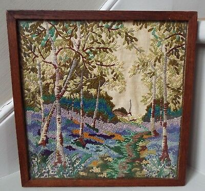 Antique Oak Frame Needlework Hand Embroidery Forest&Cottage Picture Wall Hanging