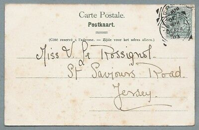 1903 Postcard sent to Miss V. Le Rossignol, St. Saviours Road, Jersey