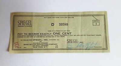 Vintage Spiegel Department Store 1 cent Check Bank of the Manhattan Company