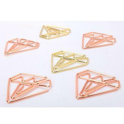 10 Pcs Diamond Paper Clip Holders,Creative Office Shaped Metal Bookmarks