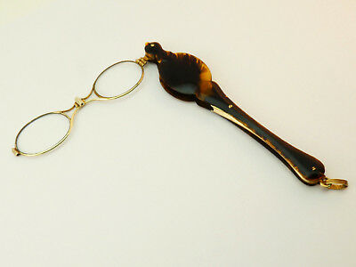 c1900, ANTIQUE LONG HANDLED GOLD PLATED FOLDING SPRUNG LORGNETTES SPECTACLES