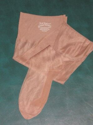 "1 pr Vintage OUTSIZE 11  X 35""  FF seamed nylon stockings Beige 50s plus size"