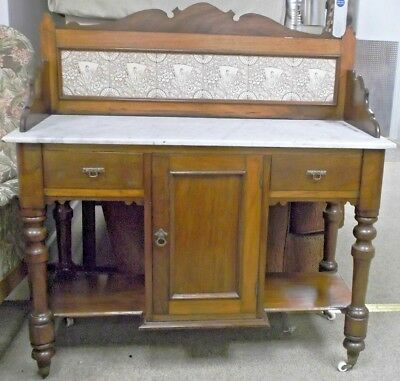Antique Victorian c1885 Mahogany Dark Wood Washstand With Marble Top  - BA5