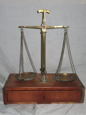 Antique Apothecary Balance Beam Scales, Brass & Wood, Original Weights