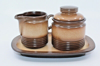Winterling Pfalzkeramik Sahara Brown Creamer Sugar Bowl Lid Plate Set Germany