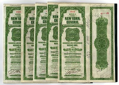 Lot of 5 - 1913 New York Central Railroad Company Bonds