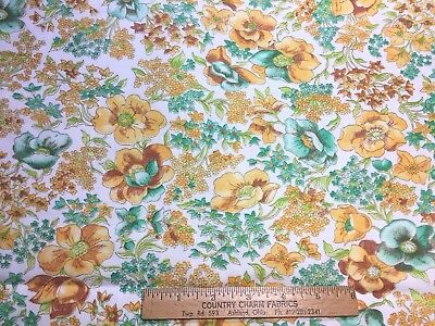 Vintage Cotton Fabric 40s50s PRETTY Bluish Green & Yellow Floral 35w 1yd