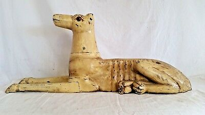 Antique Carved Wood Egyptian Reclining Dog,Anubis,God of Death,Pharaoh Hound