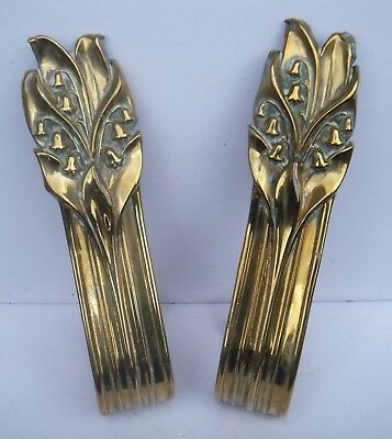 Beautiful Pair Art Nouveau Repousse Brass Curtain Holdbacks  Lily Of The Valley