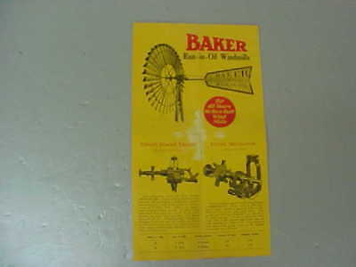 Vintage Baker Run-In-Oil Windmill Brochure (Also Shows Tower & Components)