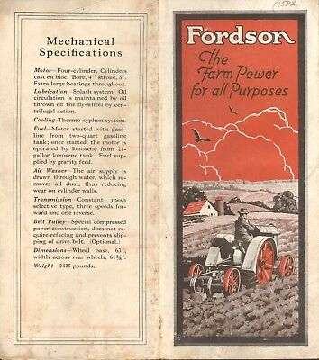 Fordson Farm Tractor Fold Out Brochure Original Vintage