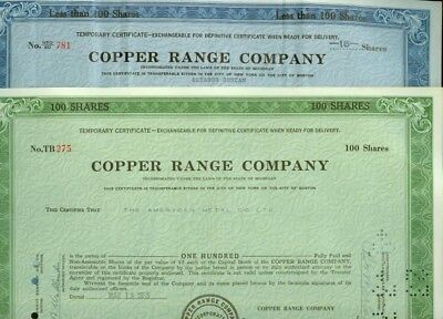 4 Different Temporary Copper Range Mining Stock Certificates Michigan