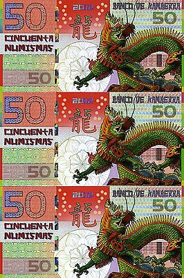 LOT, Kamberra, POLYMER, 3 x 50 Numismas, China Lunar Year, 2012, UNC > Dragon