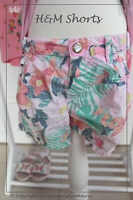 ♥ H&M Shorts Hot Pant Hose Blumen Hawaii ♥ 98 2-3 Jahre ♥ XXL-Fotos ♥