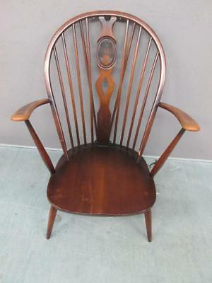 Lovely Vintage Ercol Dark Wood Windsor Arm Chair With Fleur De Lys Back