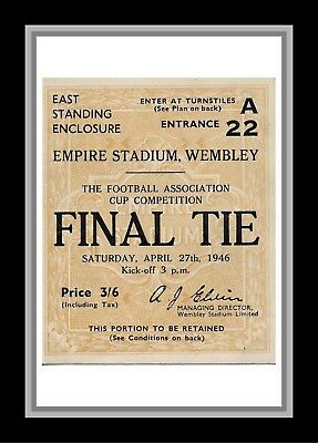 Collectors/Photograph/Print/7 x 5 Photo/1946 FA Cup Final Ticket Derby/Charlton