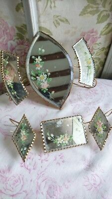CHARMING BATCH ANTIQUE FRENCH HAND PAINTED BEVELLED EDGE MIRRORS c1880 PROJECTS