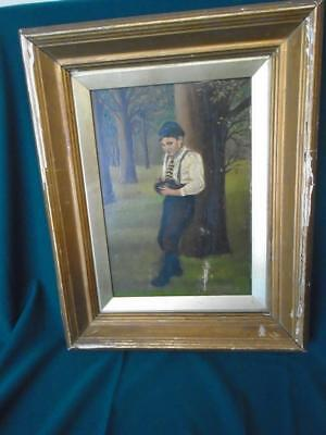 Antique oil on board painting of a young boy collecting eggs W.R.E. Goodrich