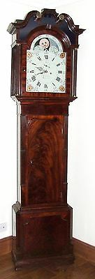 Antique Mahogany Rolling Moon & CENTRE DATE Longcase Grandfather Clock WEAVERHAM