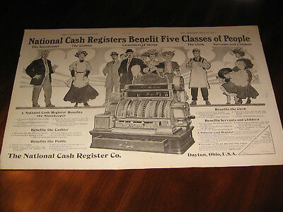 LARGE 1908  AD NATIONAL CASH REGISTER CO ,MEASURES 22 in WIDE  by 14 in HIGH