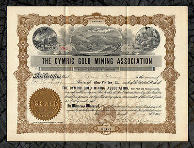 1908 Cymric Gold Mining Association Stock Certificate CLEAR CREEK CO. COLORADO