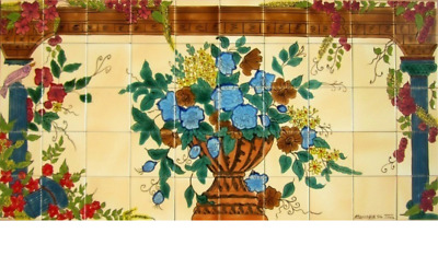 Decorative Ceramic Tiles: Hand Painted Mosaic Wall Mural Kitchen Pool Patio Bath