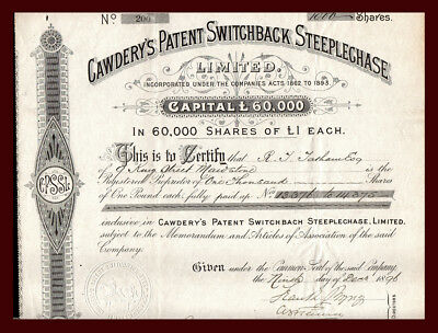1896 LONDON Cawderys Patent Switchback Steeplechase Certificate ROLLER COASTER