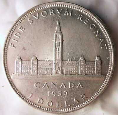 1939 CANADA DOLLAR - ONE YEAR TYPE AU - Excellent Silver Crown Coin -Lot #A16